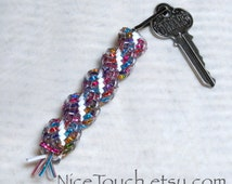 SUMMER SALE!!! Free Shipping or Save 20% ~ Mini Rainbow Sparkle woven gimp keychain ~ Made to Order