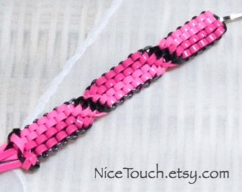Little Bows woven gimp magenta, pink, and black waterproof keychain ~ Made to Order
