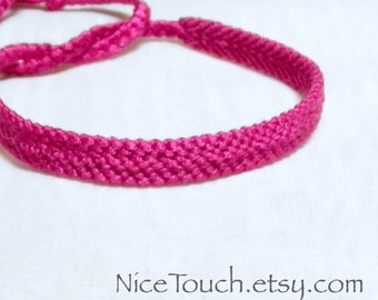 SUMMER SALE!!! Free Shipping or Save 20% ~ Magenta Dark Pink solid color knotted friendship bracelet ~ Made to Order