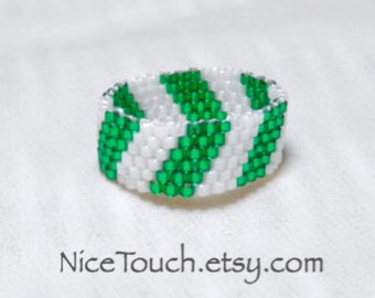 SUMMER SALE!!! Free Shipping or Save 20% ~ Wintergreen green and white striped beaded peyote ring ~ Made to Order