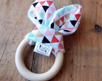 Bunny Biter - Natural Maple Teether with removable fabric ears - confetti triangles