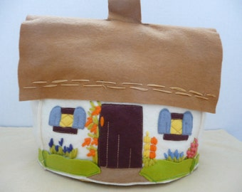 """Applique and Crewel Wool Felt 'Thatched Roof"""" English Cottage Tea Cozy"""