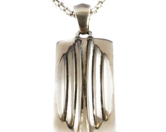 Heavy Armour dog tag Pendant solid sterling silver 925 by EZI ZINO