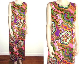 Ja-Na Hawaiian Maxi dress luau tiki psychedelic floral side sash panels