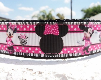 """Sale Girl Dog Collar 1"""" wide Quick  Release or Martingale collar Minnie Mouse Dots, incl dogs neck measurement"""