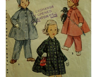 "Toddlers Coat Pattern, Bonnet, Pants, Raglan Sleeves, Welt Pockets, Small Collar, 1950s Simplicity No. 4454 Size 1 (Chest 20"" 51cm)"