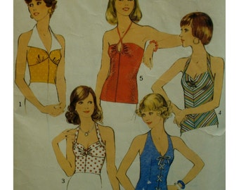 """70s Halter Top Pattern, 5 Styles, Rouched Bust, Lace-up Front, Collar, Shoestring Ties, Style No. 4808 Size 12 (Bust 34"""")"""