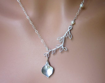 Silver Calla Lily Freshwater Pearl Branch Leaves Wedding Necklace Brides Jewelry Gift