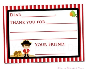 PRINTABLE Boy Pirate Fill-in-the-Blank Thank You Cards #569
