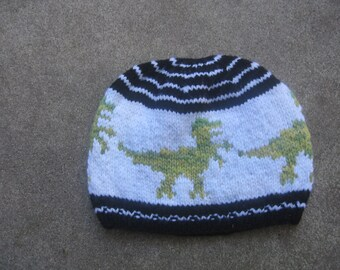 Wool Hat: T-Rex on white and black