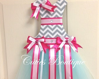 Tutu Dress Hair Bow Holder Gray Chevron with Aqua White and Hot Pink