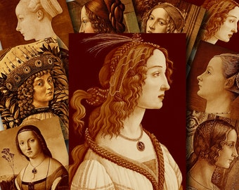 2.5x3.5 inch ITALIAN RENAISSANCE PORTRAITS Digital Printable collage sheet for Tags Cards Paper Crafts...vintage adaptations