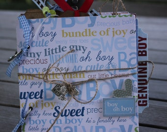 Baby Boy 1st Year mini album, Baby photo album; Baby Boy Mini Album, Baby Boy Scrapbook, Baby Boy Record Book, Baby Boy Photo Album