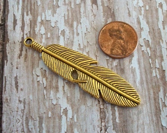 Feather Gold Pewter Charm