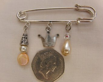 Large Silver Plated Kilt Pin Broach with Pearl, Mother of Pearl and Silver Plated Charms