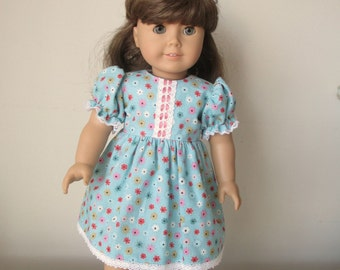 "SALE - Blue Floral Summer Dress for 18"" American Girl or Gotz Dolls"