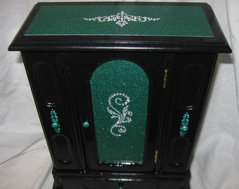 Emerald Green and Black Upcycled Jewelry & Trinket Box