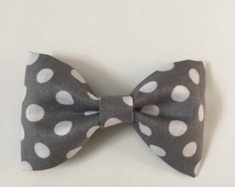 Grey and white boys bowtie