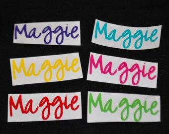 Vinyl Name Labels - Multi Color - Set of Six