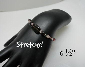 Smoky Quartz and Garnet Stretchy Bracelet With Glass Beads