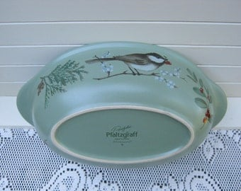 Pfaltzgraff Winterwood Oval Vegetable Dish - Birds Holly - Oak Hill Vintage