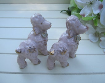 Pink Poodle Pair - French Poodles - Dog Puppy Figurine - Oak Hill Vintage