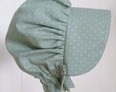 Baby Bonnet, Sun Bonnet,  Pioneer Bonnet ,Baby Girl Bonnet, Toddler Bonnet - Green  Ready to Ship