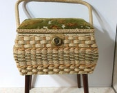 Vintage Mid Century Modern Wicker Sewing Basket With Tapered Legs Mod Vintage 1960s