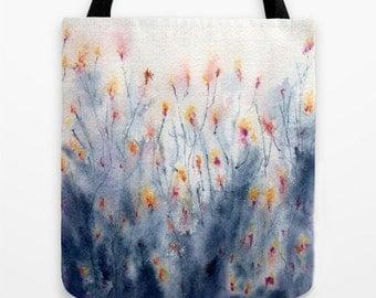 Art Tote Bag - Wildflowers Watercolor Painting - Shopping Bag