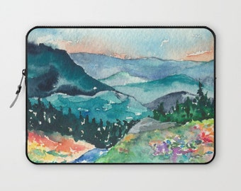 Scenic Macbook Pro Laptop Case - Artistic Printed Fabric Laptop Sleeve - Mountains Painting