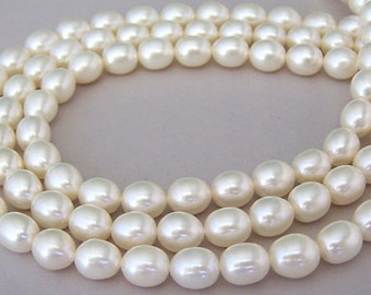 Grade A white freshwater rice pearls, 8mm, full strand, freshwater white rice 7.5mm