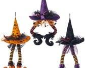 "RAZ 23"" Hanging Witches Hat With Legs H3416027, Wreath Decor, Halloween Decor"