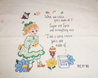 Vintage Counted Cross Stitch Sampler Little Girls Are Made Of