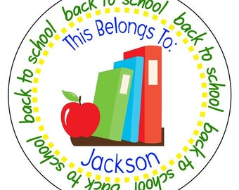 custom back to school stickers, personalized back to school labels, school books stickers, this belongs to stickers, 3 sizes available