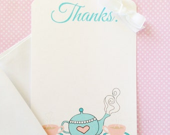 printable tea party thank you note, tea party birthday thank you, digital tea party thank you note, pink and blue tea party thanks