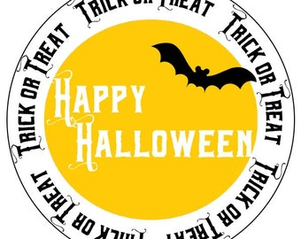 halloween bat stickers, trick or treat stickers, halloween moon and bat stickers, black and yellow halloween labels, 3 sizes available