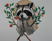 Holy Raccoon 10'' x 11'' Print Watercolor