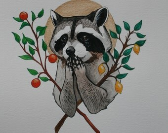 Holy Raccoon 10'' x 11'' Print Watercolor
