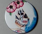 2.25 inch Pin Back Button - Lies - Day of the Dead Sugar Skull Girl Calavera Colorful Tattooed Pin Up Tattoo Art Pin