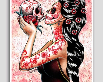 Hand Signed 18x24 inch Poster Sized Art Print - Eternity by Carissa Rose - Colorful Lowbrow Tattooed Sugar Skull Calavera Pin Up With Skull