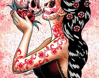 ORIGINAL PAINTING - Day of the Dead Sugar Skull Girl Portrait Watercolor Painting - Eternity by Carissa Rose 11x14 inches