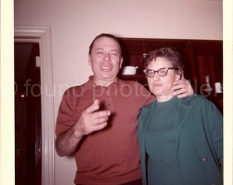 Vintage Photo, Man With Arm Around Woman, Color Photo, Found Photo, Snapshot, Vernacular Photo, Man Laughing, Twin Set