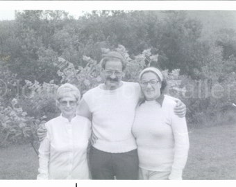 Vintage Photo, Man With Two Women Vacation, Black & White Photo, Old Photo, Snapshot, Vernacular Photo, Found Photo