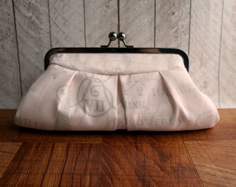 Clearance. Gray and blush pink clutch purse, Paris French theme, clutch bag in frame, eiffel tower