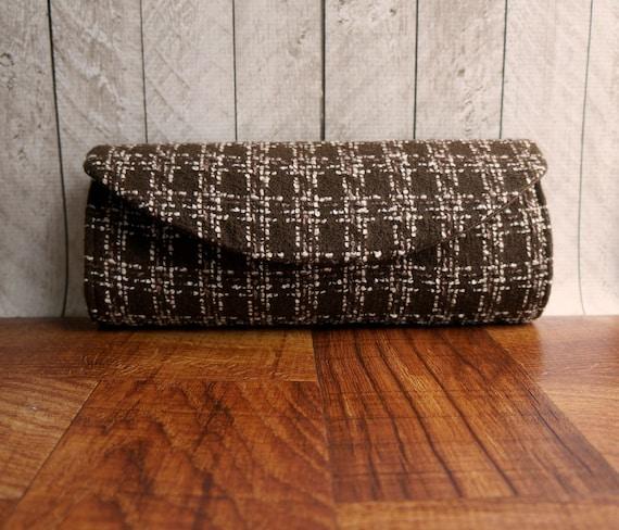 Chocolate Brown clutch, tweed clutch bag, clutch purse, fall fashion