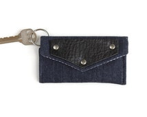 Denim Keychain Wallet with Leather Accent, Student Card Holder and Dorm Room Key Ring, Keychain Cardholder