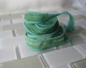 "Hand Painted Crinkle Silk Wrap Bracelet -Moss Green Ombre - 1/2"" Fairy Ribbon"