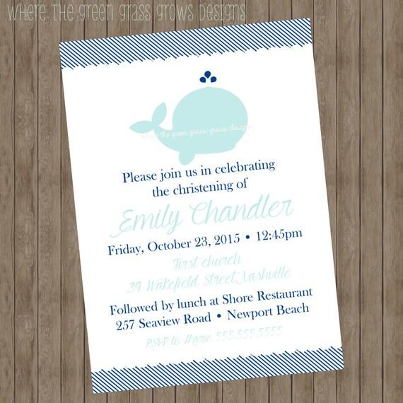 Whale Christening Invitation - Printable