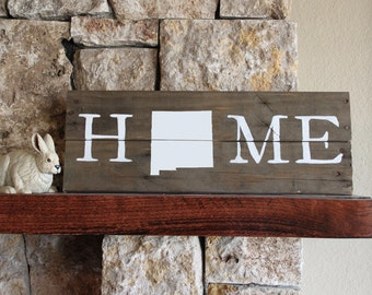 New Mexico HOME -Reclaimed Wood Sign, New Mexico State University, University of New Mexico, Rustic, Silhouette Map, Repurposed, NM