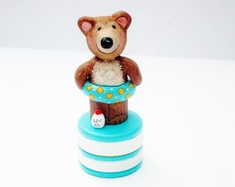 Tooth Fairy Box, Hand Painted Gift Box, Clay Art Doll, Bear Peg -In Stock, Ready to Ship
